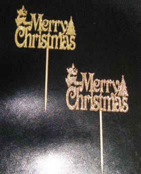 Glitter or Plain Cupcake Cake Picks - Merry Christmas