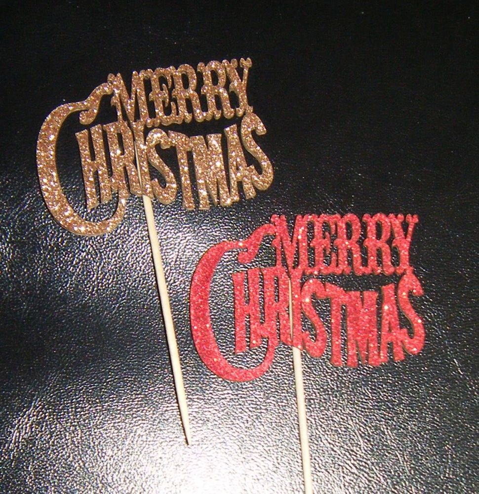 Glitter or Plain Cupcake Cake picks - Merry Christmas 2