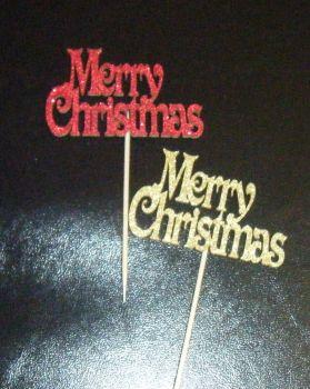 Glitter or Plain Cupcake Cake Picks - Merry Christmas 3