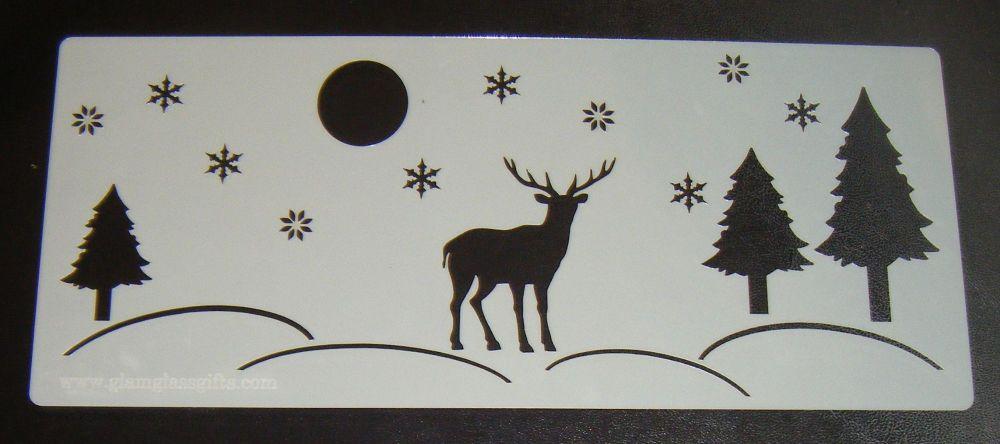 Stag Winter Scene Cake Stencil Large 5 inch deep