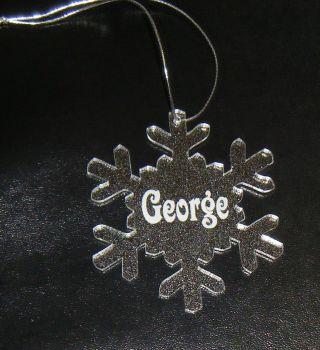 Personalised Medium  Snowflake Glittery Bauble Decoration