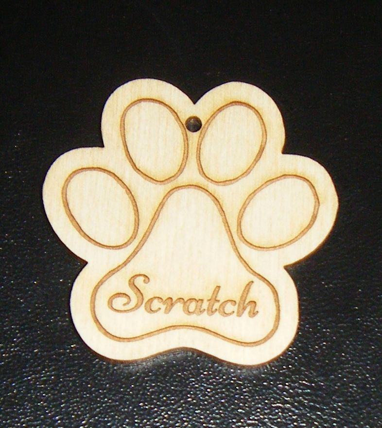 Wooden Medium Paw Print Gift Tag - Custom Made With Names etc