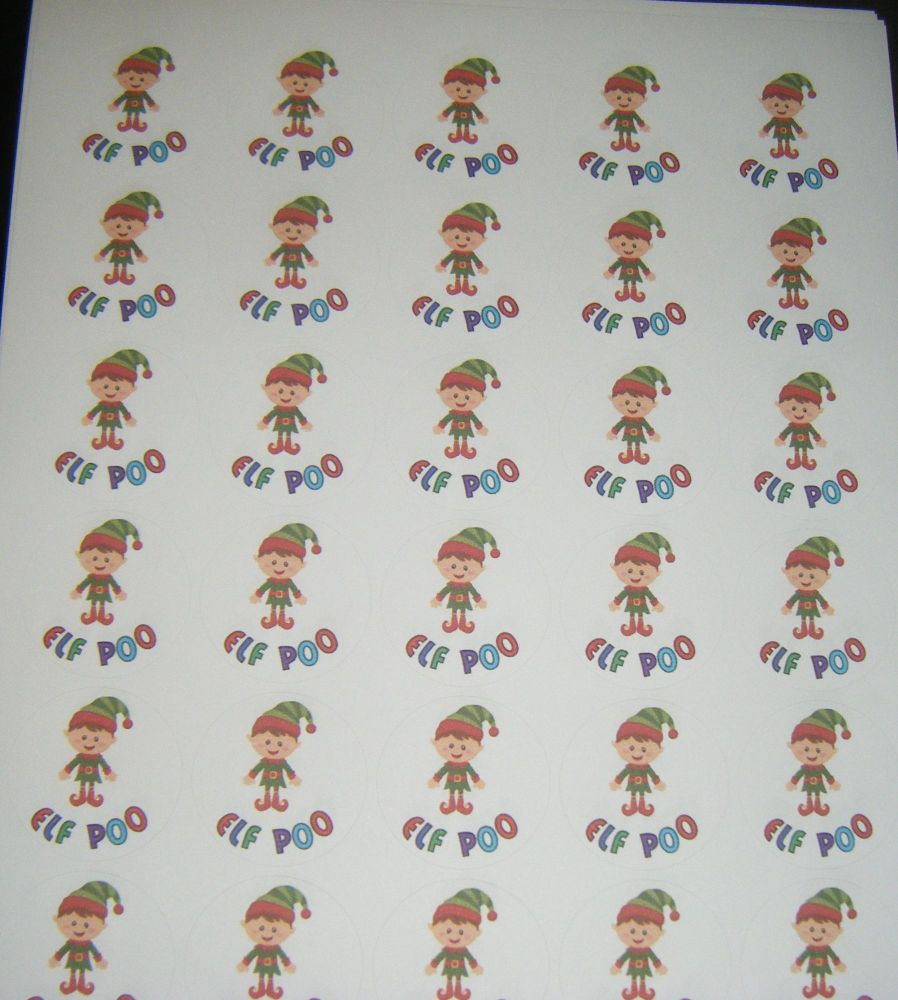 Elf Poo - Sheet of Round  Stickers A4