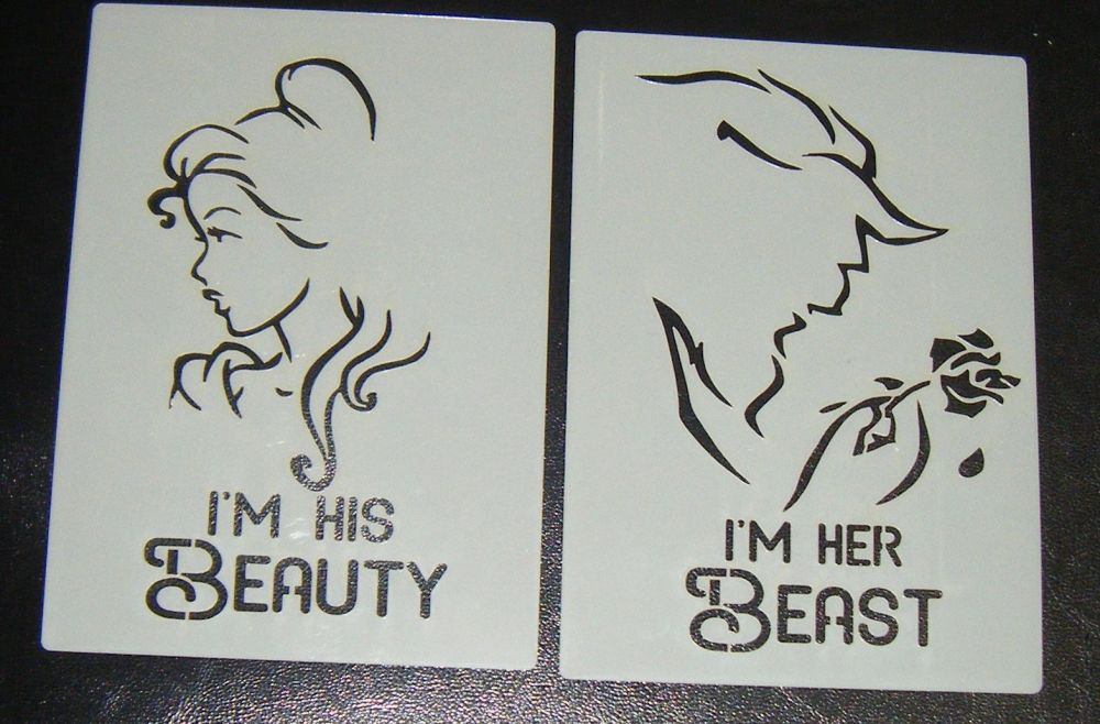 Beauty And The Beast Silhouette + Word Set Craft Cake Stencil