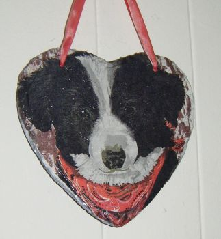 Decoupage Slate Hanging Heart - Border Collie Dog Design