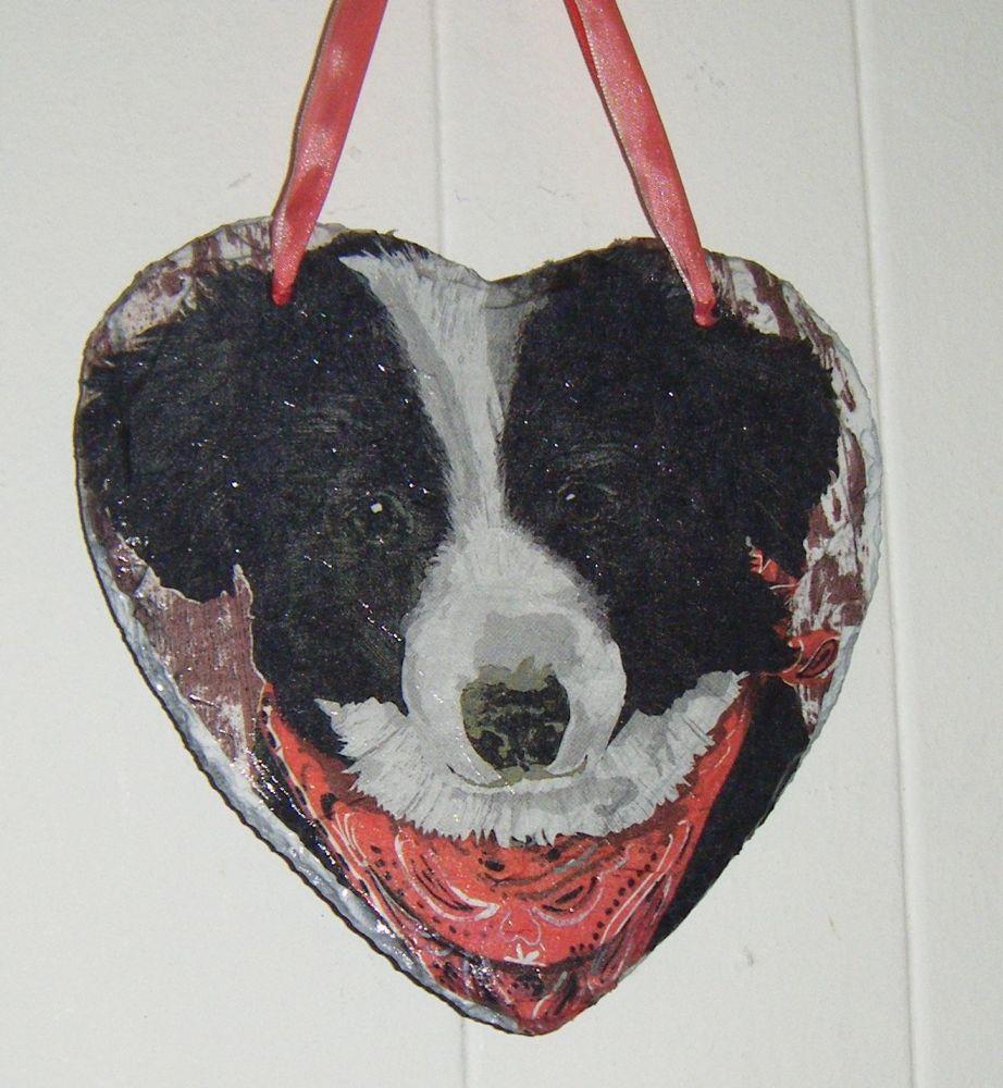Decoupage Slate Hanging Heart - Border Collie Dog Design
