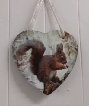Decoupage Slate Hanging Heart - Squirrel Design