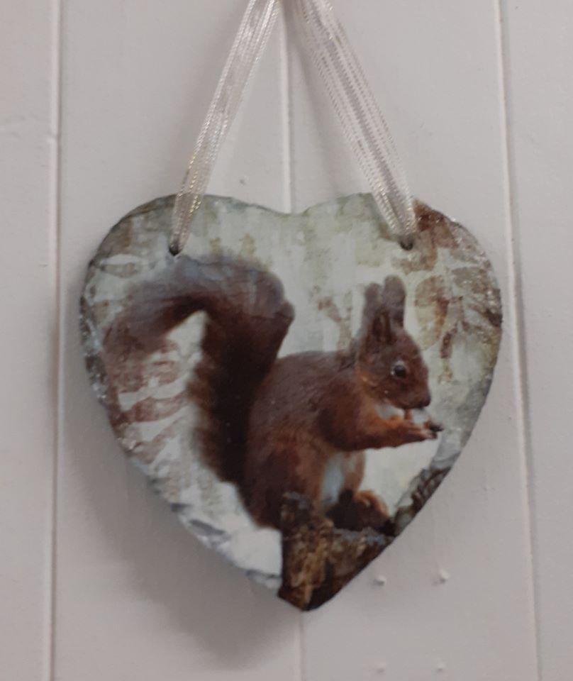 Decoupage Slate Hanging Heart - Squirrel Design