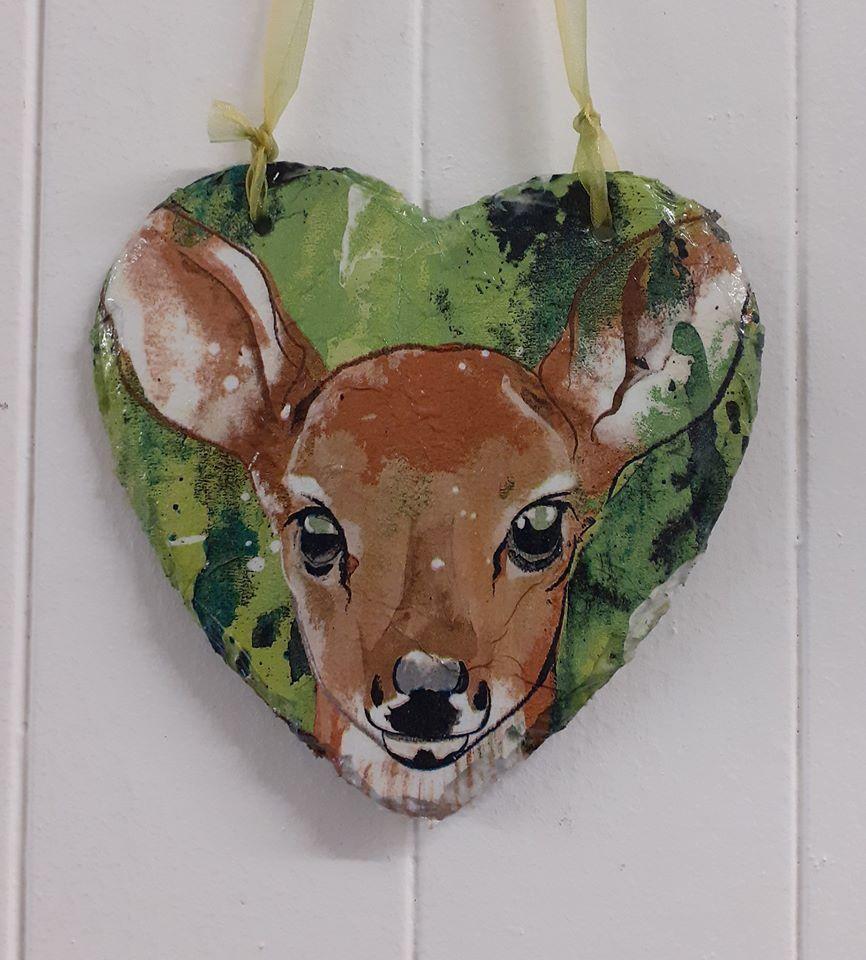 Decoupage Slate Hanging Heart - Deer Design