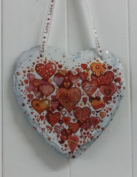 Decoupage Slate Hanging Heart - Valentine Hearts Design