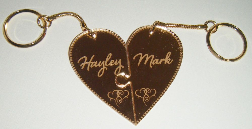 Heart Jigsaw Style Keyrings Interlocking Pair Custom Order