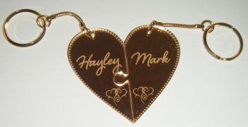 Heart Jigsaw Style Keyrings Interlocking Pair Custom Order