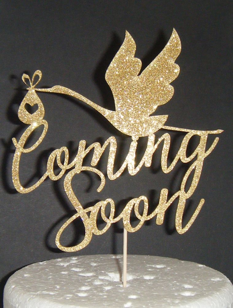 Coming Soon Baby Shower or Reveal Cake Topper with Stork