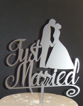 Just Married With Bride and  Groom Wedding Cake Topper