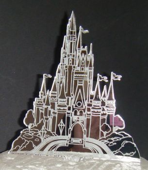 Castle Engraved  Mirror Acrylic Topper Silhouette Cake Topper