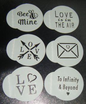 6 x Fun Valentine Designs Cupcake Stencils