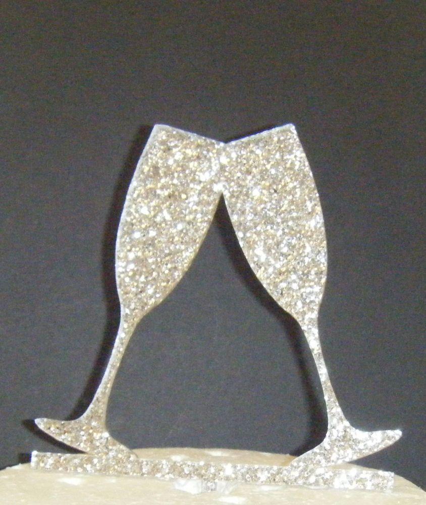 Champagne Glasses Silhouette Cake Topper
