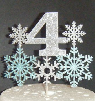 Snowflake Age Glitter Card Cake Topper .....Any Number!