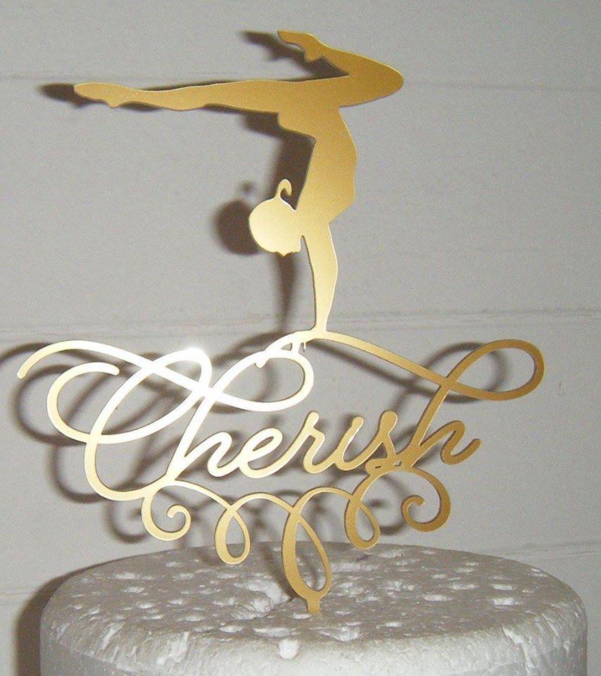 Gymnast Name Silhouette Topper Custom Made