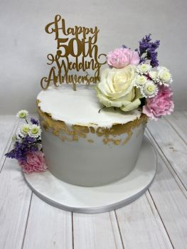 Happy Any Number Wedding  Anniversary Cake Topper