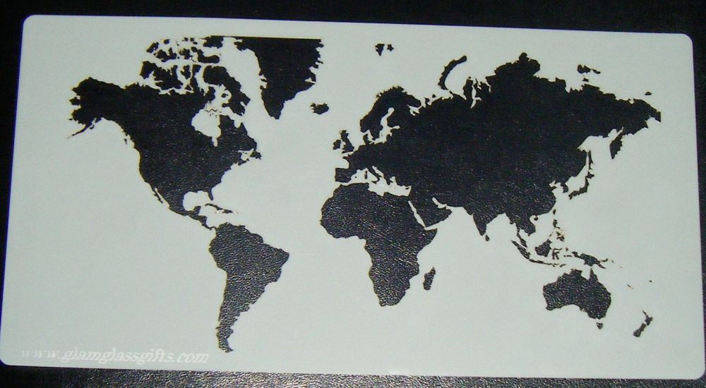 World Map Pattern 3 Cake decorating stencil Airbrush Mylar Polyester Film