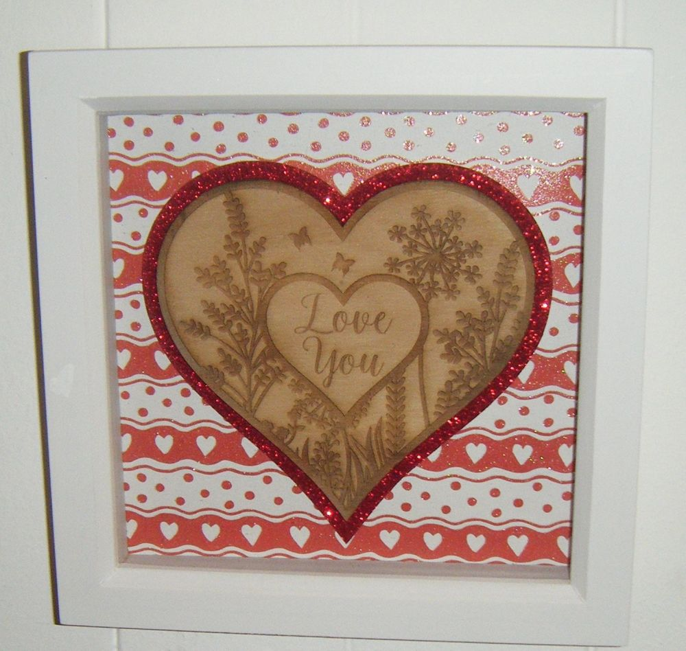 Love You Wooden Heart  - Frame - Lasercut