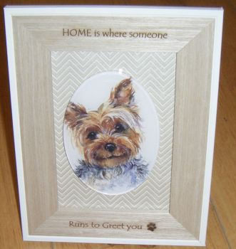 Home Is Where Someone Comes To Greet You Frame - Yorkie