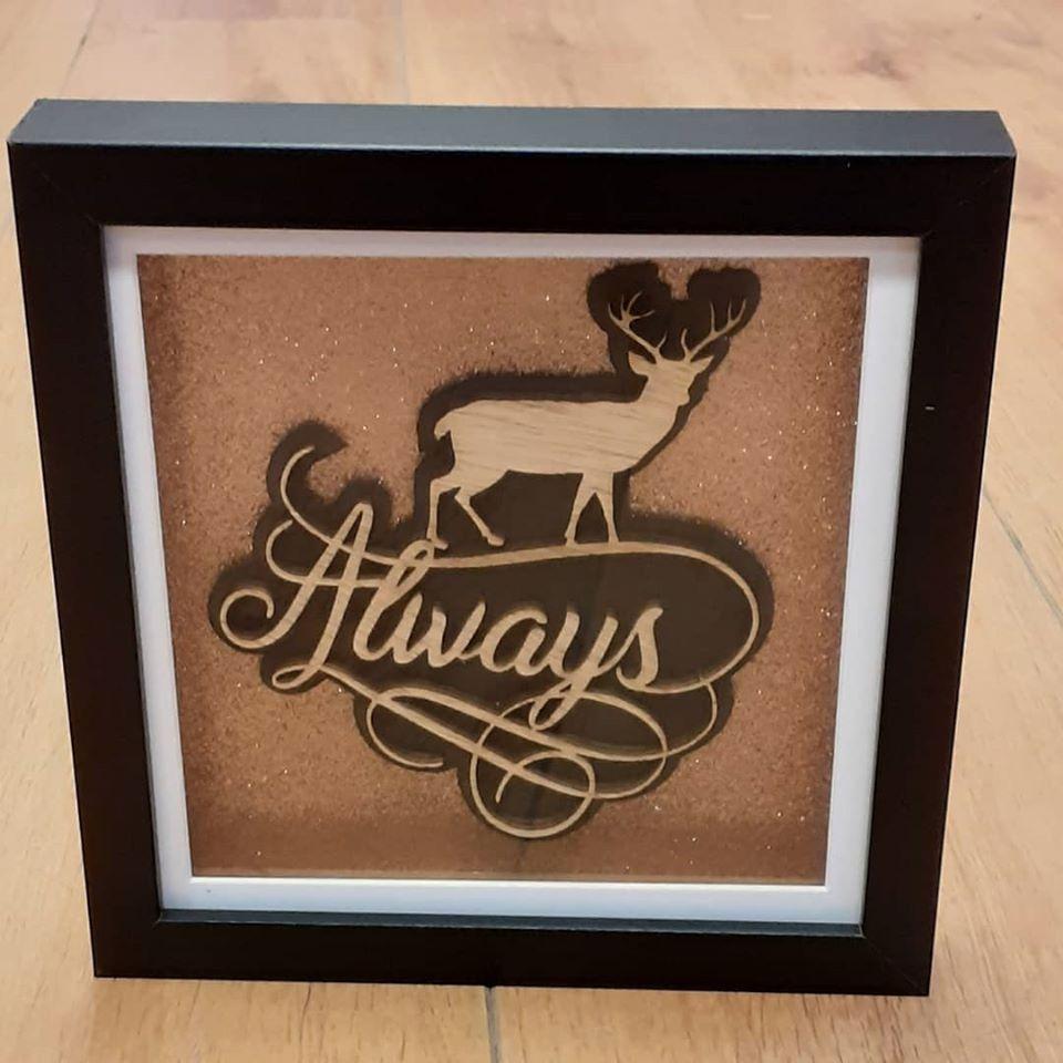 Always With Deer - Framed Wood Design Picture