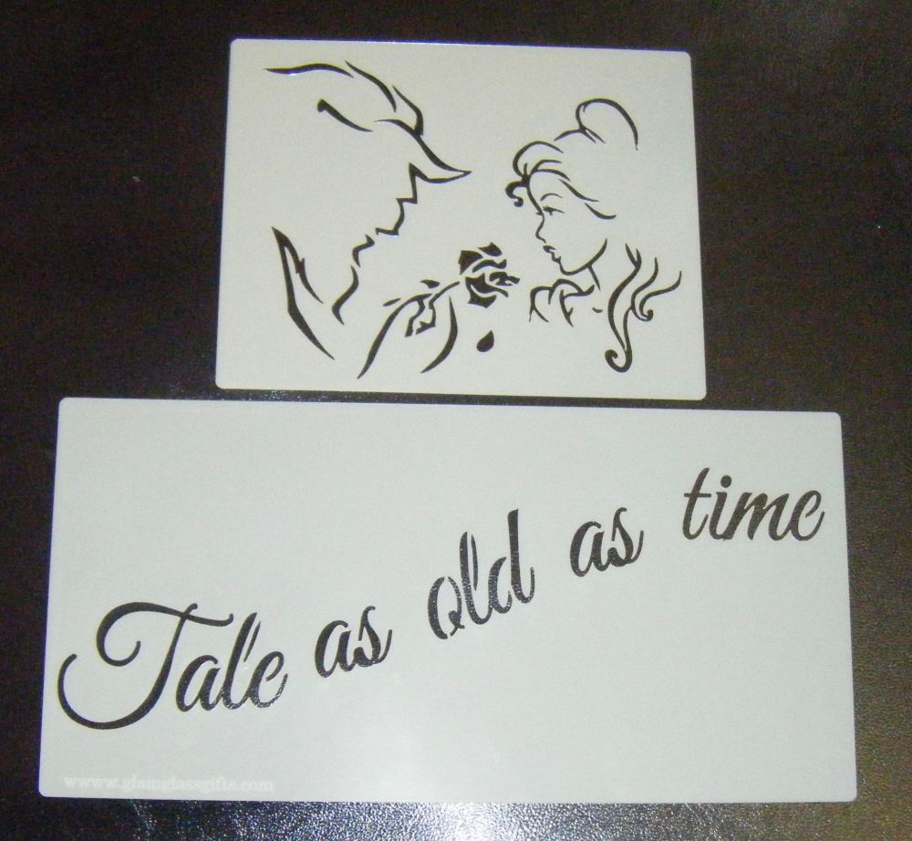 Beauty and The Beast Small Set Silhouette Craft or Cake Stencil