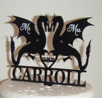Mr + Mrs Name Dragon Cake Topper