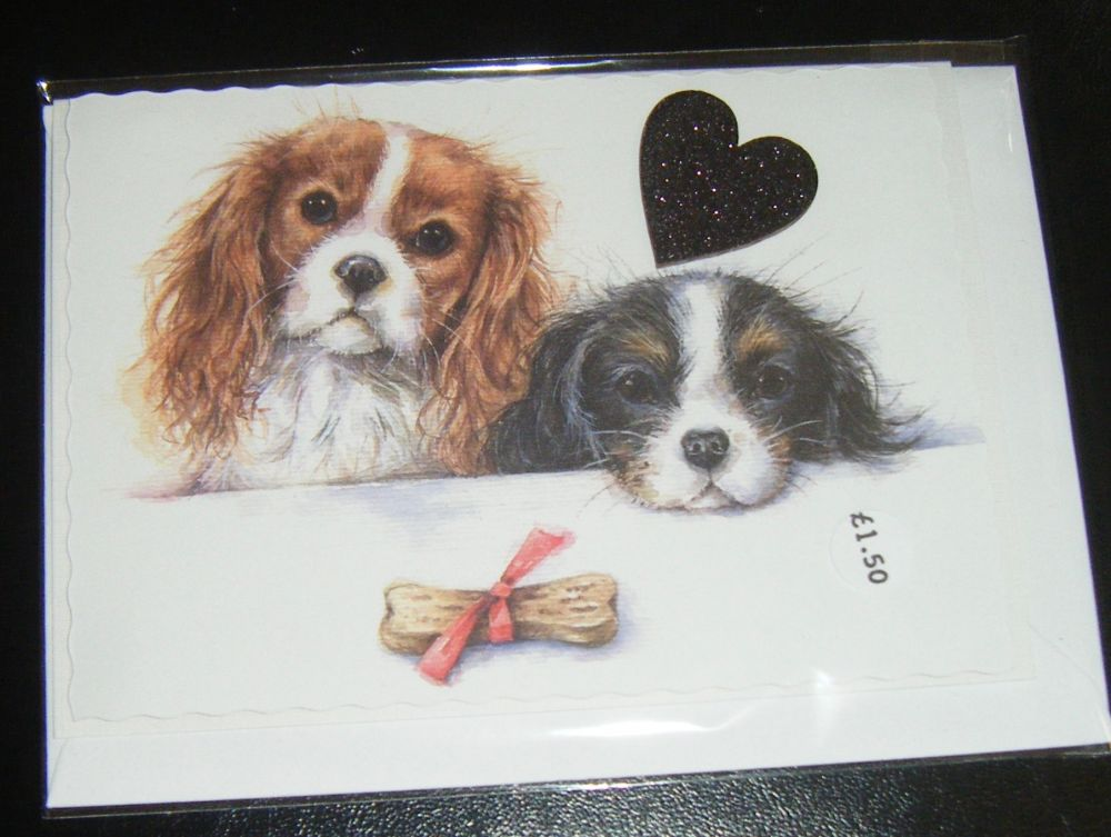 Cavalier King Charles Spaniel - Dog Greeting Card Blank Inside