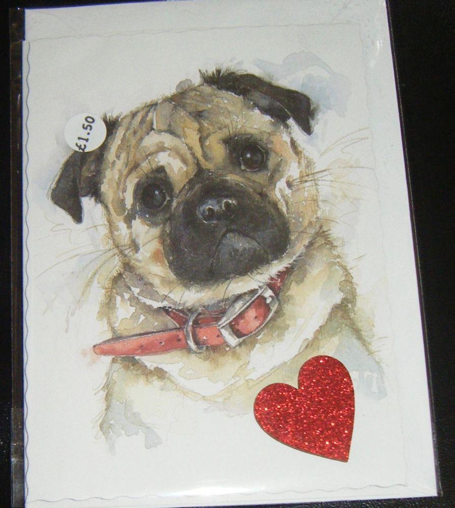 Pug - Dog Greeting Card Blank Inside