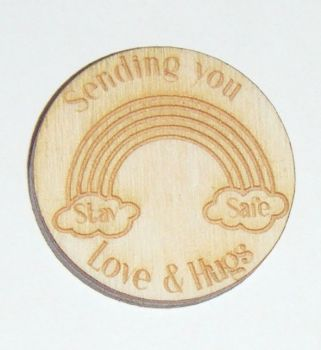 10 x Wooden Heart Mini Gift Tag - Stay safe Rainbow