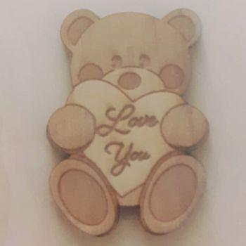 Wooden Mini Badge - Love You Bear Hug