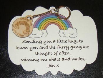 Wooden Mini Gift Keyring - Stay Safe Rainbow