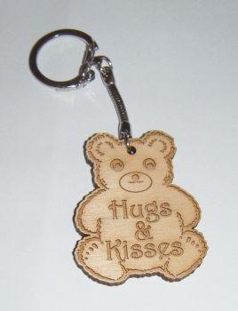 Bear Shape Keyring - Lasercut Engraved Hugs And Kisses