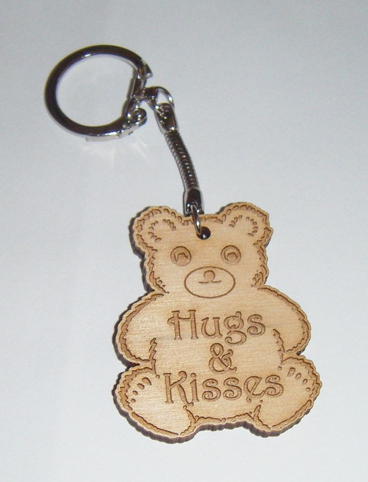 Bear Shape Keyring - Lasercut Engraved Hugs And Kisses