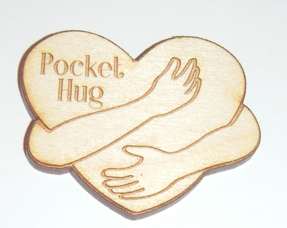 10 x Wooden Heart Small 30mm Size Gift Tag - Pocket Hug
