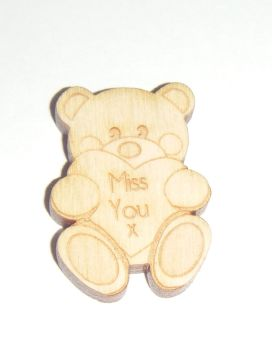 10 x Wooden Bear Miss You - Small 30mm Size Gift Tag - Pocket Hug