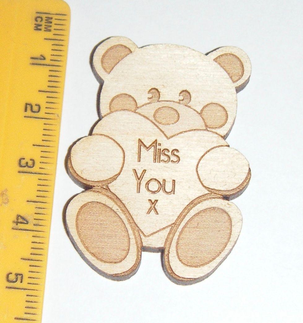 Wooden Mini Badge - Miss You Bear Hug