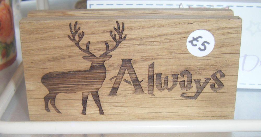 Always Stag Silhouette - Wood Block