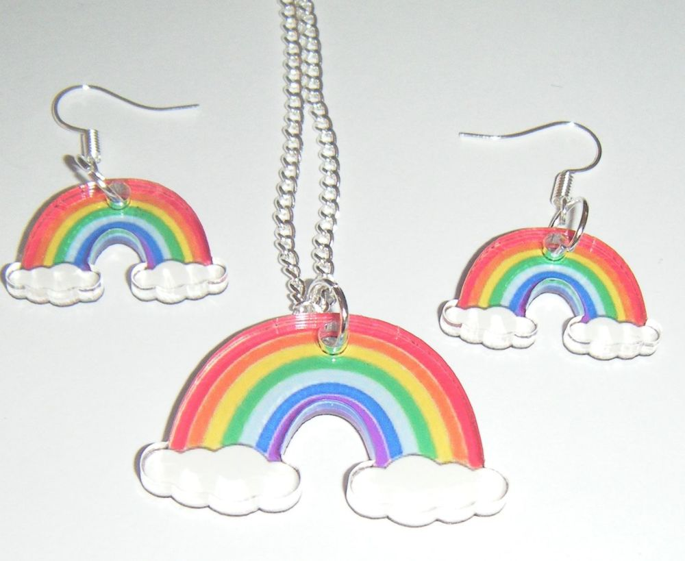 Rainbow Earring and Pendant Set Necklace
