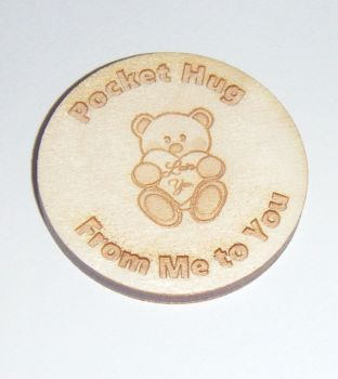 10 x Wooden Token with Bear 40mm Size Gift Tag - Pocket Hug