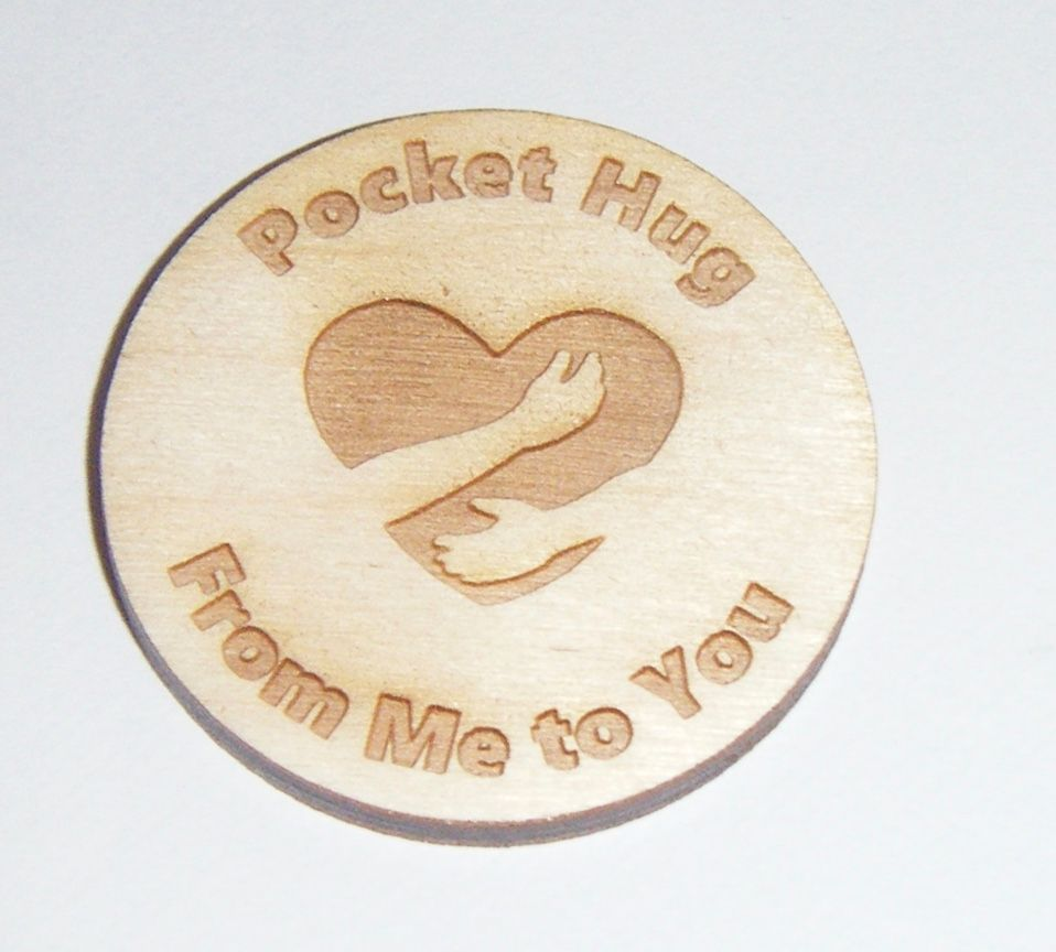 10 x Wooden Token with Heart 40mm Size Gift Tag - Pocket Hug