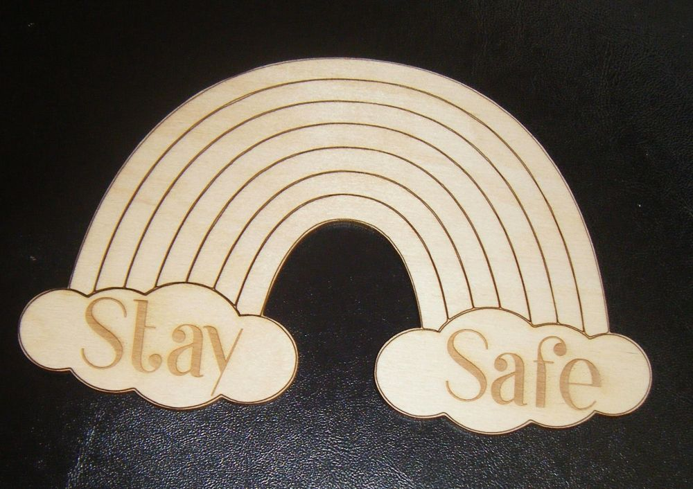 Stay Safe Rainbow  - Wooden Plaque