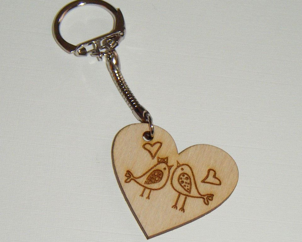 Heart Shape Keyring - Lovebirds -  Lasercut - Can Be Personalised