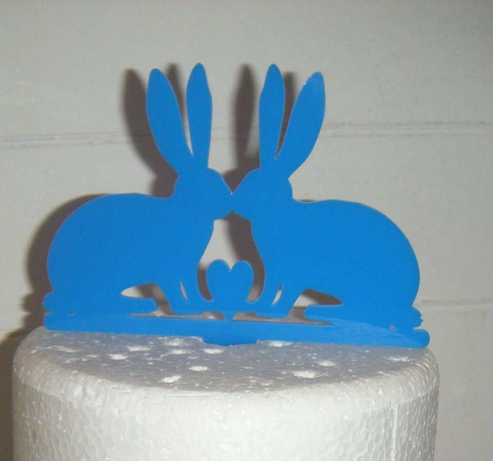 Rabbit Couple with Heart Silhouette Cake Topper