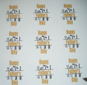 A4 Sheet of Round Father's Day Stickers Tools Design