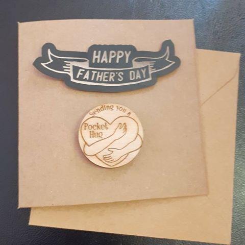 Father's Day Mini Card - Wooden Heart Mini  - Pocket Hug - Gift Tag