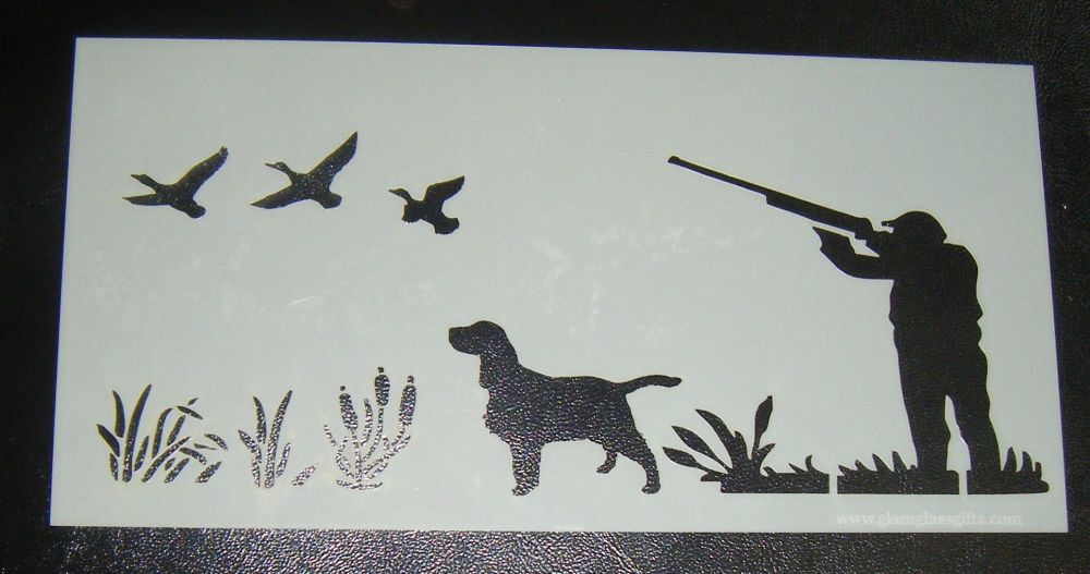 Hunting Shooting With Dog Cake Royal Icing Airbrush Craft Stencil